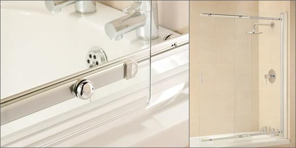 Sliding Bathscreen 1065mm Plain Glass Chrome